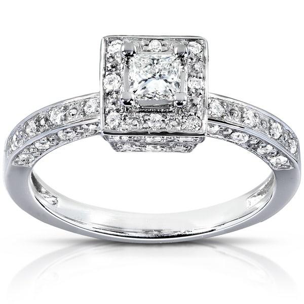 Annello 14k White Gold 1/2ct TDW Diamond Halo Engagement Ring (H-I, I1-I2)