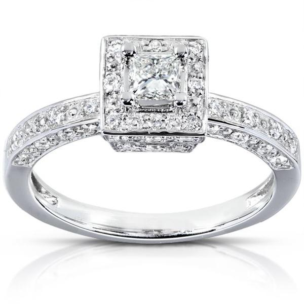 Annello 14k White Gold 1/2ct TDW Diamond Halo Engagement Ring (H-I, I1-I2)