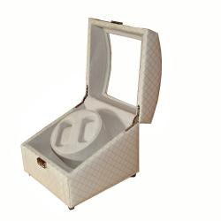 Rocket White and Goldtone Quilted Imitation Leather Watch Winder