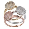La Preciosa Gold over Silver Stackable Cubic Zirconia Circle Tri-color Ring Set
