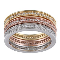 La Preciosa Gold over Silver Tri-color Stackable Ring Set