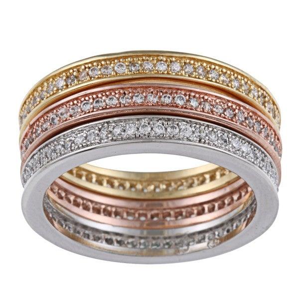 La Preciosa Gold over Silver Tri-color Stackable Ring Set