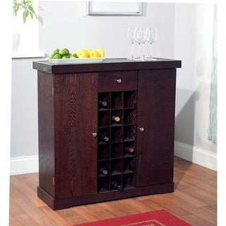 Simple Living Espresso Wine Storage Cabinet