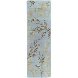 Hand-tufted Julian Gray Floral Wool Rug (2'6 x 8')