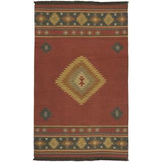 Hand-woven Red Southwestern Aztec Fernie Wool Rug (5' x 8')