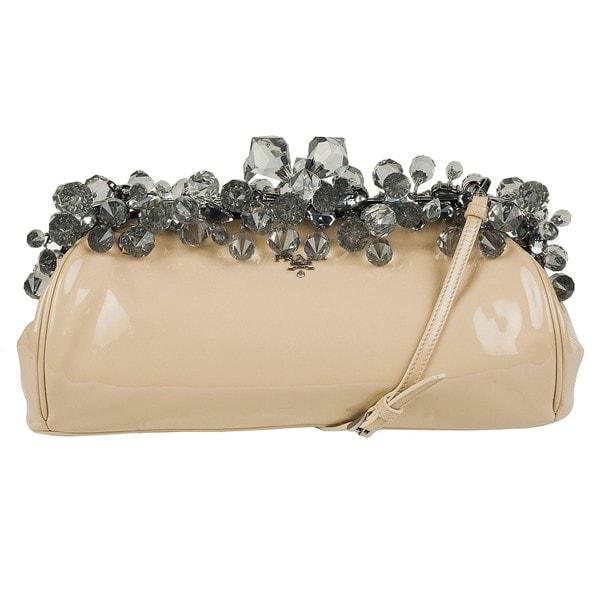 Prada Beige Patent Leather Jeweled Clutch - 13758134 - Overstock ...