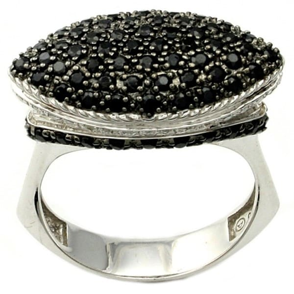 Beverly Hills Charm Silver Black Sapphire and 1/6ct TDW Diamond Ring (H-I, I2)
