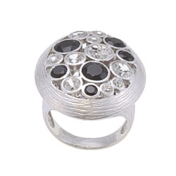 Beverly Hills Charm Silver Black Spinel and White Topaz Ring