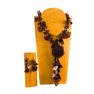 Coconut Squares and Congolo Seed Jewelry Set (Colombia)