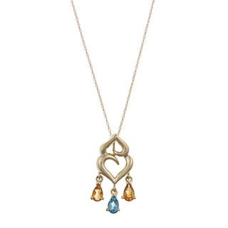 FJC 14k Gold Citrine and Blue Topaz Necklace
