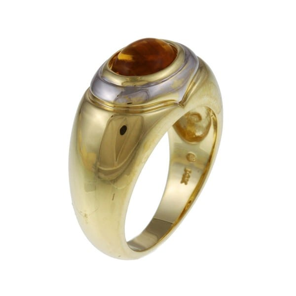 FJC 14k Gold Oval Citrine Cabochon Ring