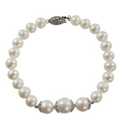 Pearls For You Silver White Freshwater Pearl Bracelet (7-11 mm)