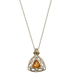 FJC 14k Yellow Gold Trillion-cut Citrine Trellis Necklace