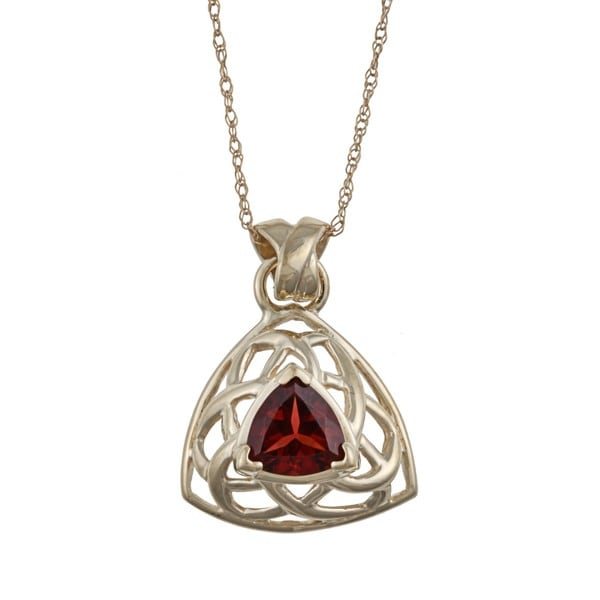 FJC 14k Yellow Gold Trillion-cut Garnet Trellis Necklace