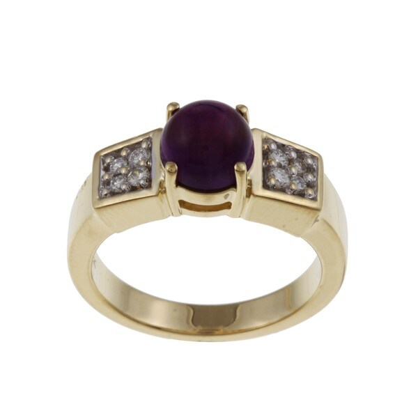 FJC 14k Yellow Gold Amethyst and 1/6ct TDW Diamond Ring (H-I, I1-I2)