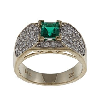 FJC 14k Gold Created Emerald and 3/4ct TDW Diamond Ring (H-I, I1-I2)