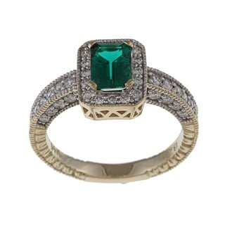 FJC 14k Gold Created Emerald and 5/8ct TDW Diamond Ring (H-I, I1-I2) Size 6