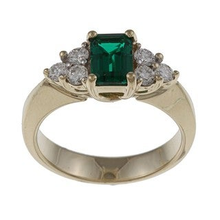 FJC 14k Gold Created Emerald and 2/5ct TDW Diamond Ring (H-I, I1-I2)