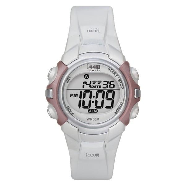 Timex Women's T5G881 1440 Sports Digital White/Silvertone/Pink Watch