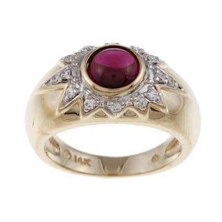 FJC 14k Gold Rhodolite and 1/5ct TDW Diamond Ring (H-I, I1-I2)