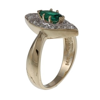 FJC 14k Gold Created Emerald and 1/3ct TDW Diamond Ring (H-I, I1-I2)