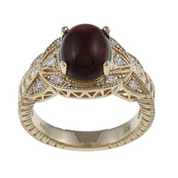 FJC 14k Gold Garnet and 1/6ct TDW Diamond Ring (H-I, I1-I2)