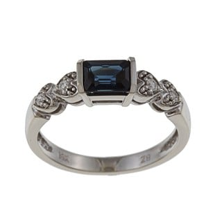 14k White Gold Emerald-cut Sapphire and Diamond Accent Ring