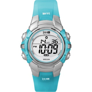 Timex Women's T5K460 1440 Sports Digital Silvertone Case Translucent Blue Watch