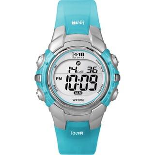 Timex Women's T5K460 1440 Sports Digital Silvertone Case Translucent Blue Watch