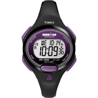 Timex Women's T5K523 Ironman Traditional 10-Lap Black/Purple Watch