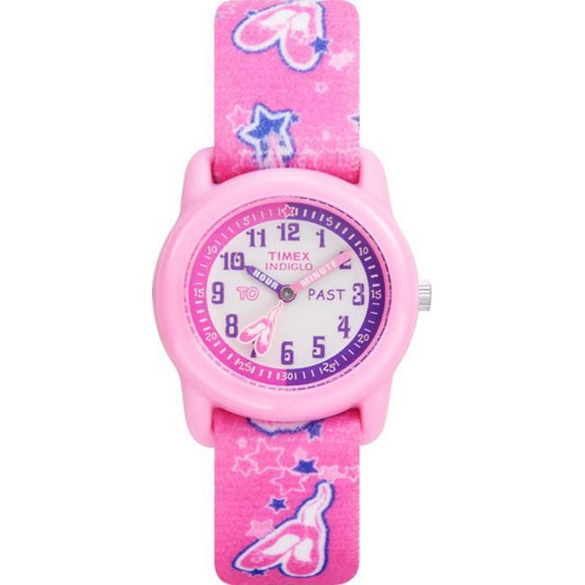 Timex kids t7b151 time teacher pink ballerina elastic fabric strap watch l13759599
