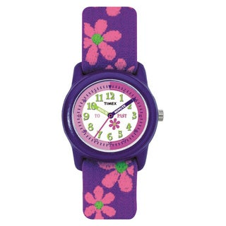 Timex Kids' T89022 Time Teacher Analog Flowers Elastic Fabric Strap Watch