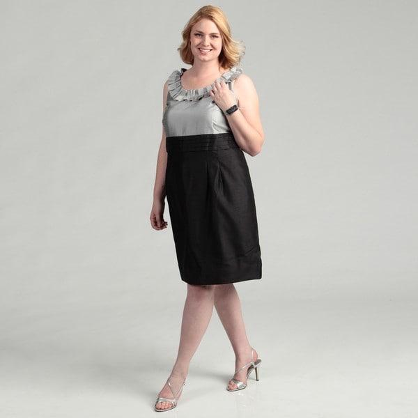 Jessica Howard Women's Plus Size Black/Silver Pleated Ruffle Neck Dress FINAL SALE