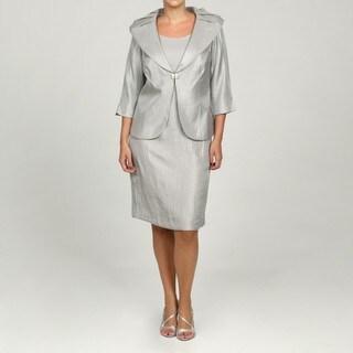 Jessica Howard Women's Plus 2-piece Shawl Collar Jacket Dress
