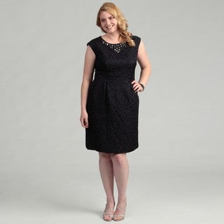 Jessica Howard Women's Plus Size Navy Cap-Sleeve Beaded Dress