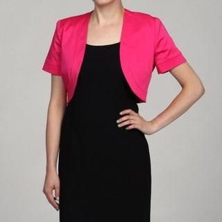 Jessica Howard Women's Plus Size Fuschia Short-Sleeved Bolero Jacket