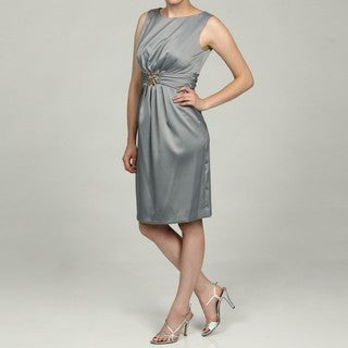 Jessica Howard Women's Silver Ruched Waist Sheath Dress