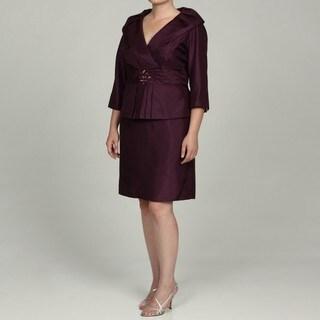Jessica Howard Women's Plus Portrait Collar Tucked Waist Peplum Sheath Dress