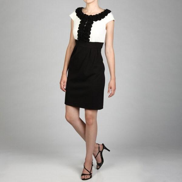 Jessica Howard Women's Ivory/ Black Cap-sleeve Ruffle Dress FINAL SALE