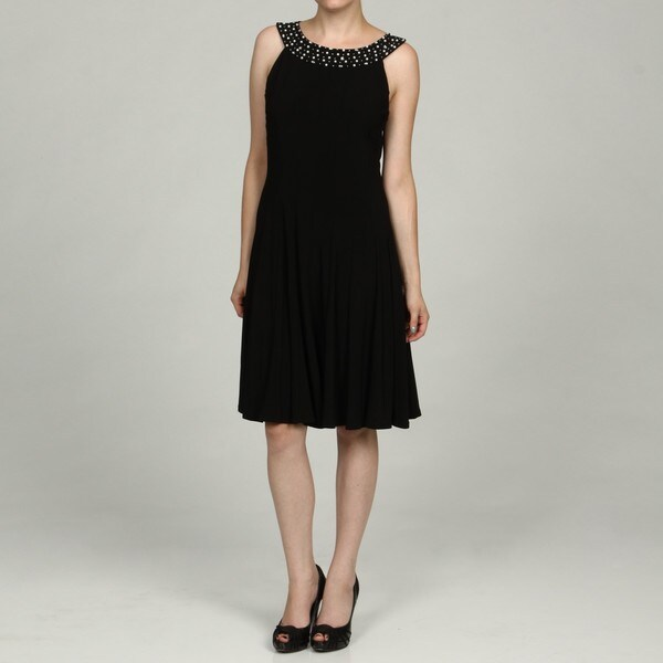 Jessica Howard Women's Black Beaded Neck Dress FINAL SALE