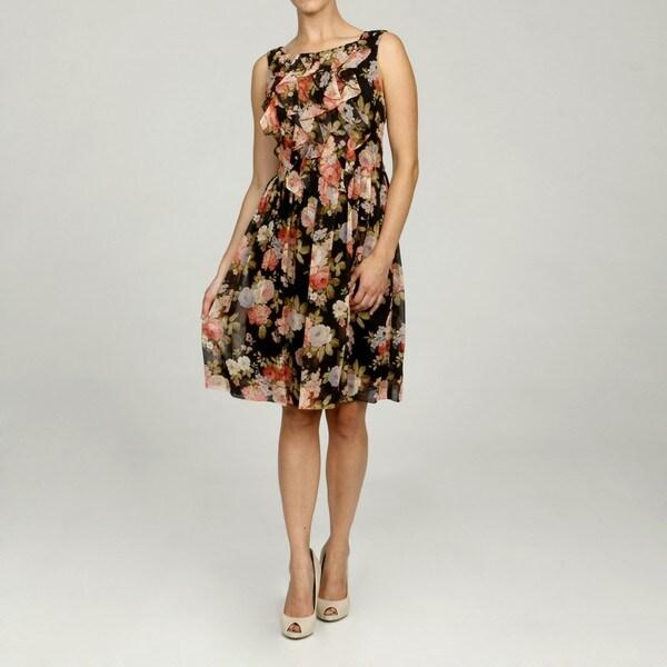 Jessica Howard Petite Printed Ruffle Front Dress