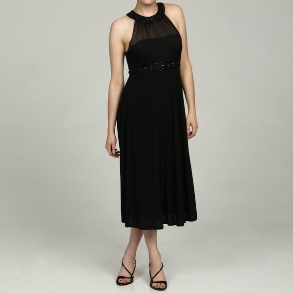 Jessica Howard Women's Black Beaded Neck and Waist Dress