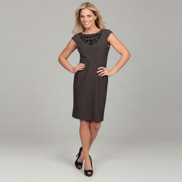 Jessica Howard Women's Beaded Cap-Sleeved Dress