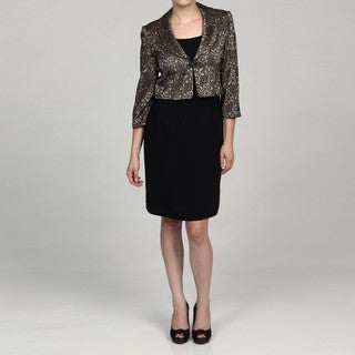 Jessica Howard Women's Black/ Champagne 2-piece Jacket Dress