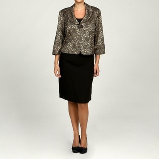Jessica Howard Women's Plus Size Black/ Champagne 2-piece Jacket Dress