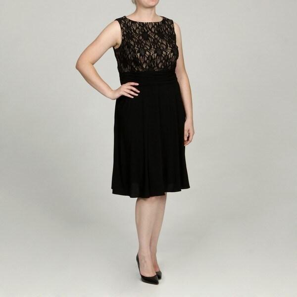 Jessica Howard Women's Plus Sleeveless Boat Neck Ruche Waist Dress