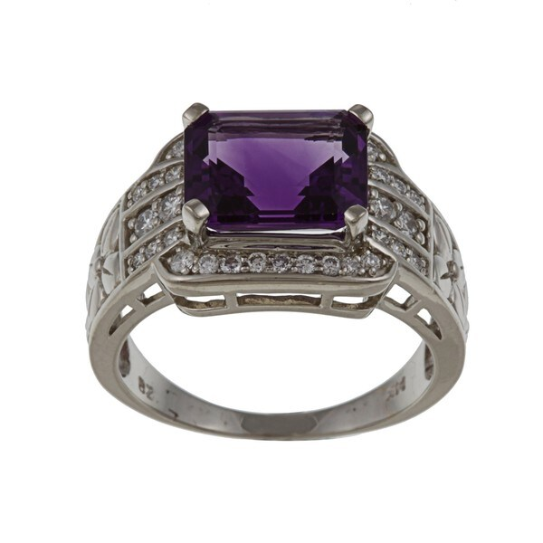 FJC 14k Gold Amethyst and 1/3ct TDW Diamond Ring (H-I, I1-I2) Size 6