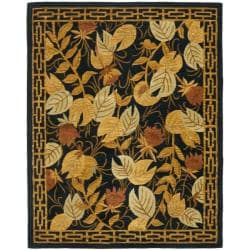 Handmade Autumn Black Wool Rug (7'6 x 9'6)