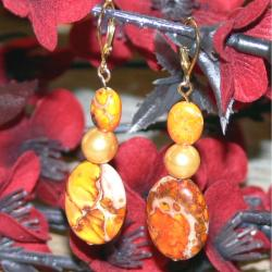 Susen Foster Goldplated Light of Day Orange Variscite Earrings (7 mm)