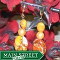 Susen Foster Goldplated Light of Day Orange Variscite Earrings (7 mm)
